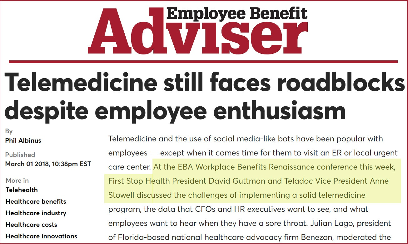 Employee Benefits Adviser: First Stop Health and Teladoc Discuss the Challenges Facing Employee Telemedicine Programs