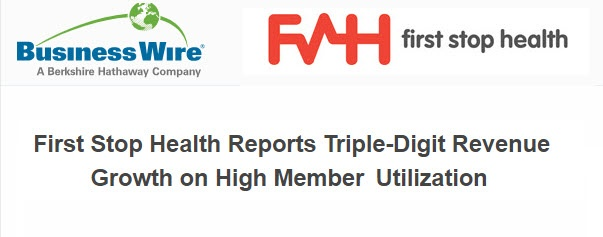 FIRST STOP HEALTH REPORTS TRIPLE-DIGIT REVENUE GROWTH ON HIGH MEMBER UTILIZATION